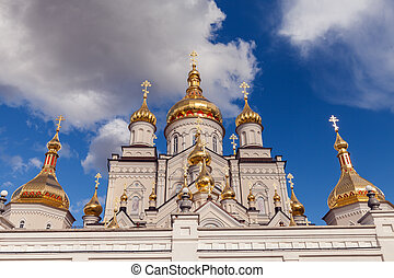 orthodox church with golden domes, Trinity cathedral and...