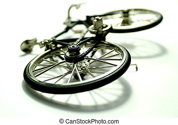 Bicycle accident Bike fall on ground over white background...