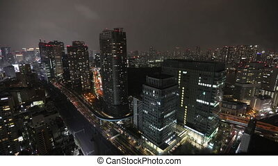 Shiodome skyline Tokyo - Aerial view time lapse over Tokyo...