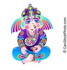 vector illustration of Lord Ganesha, indian elephant got for...