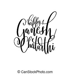 happy ganesh chaturthi hand lettering text design...