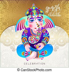 ganesh chaturthi beautiful greeting card or poster for...