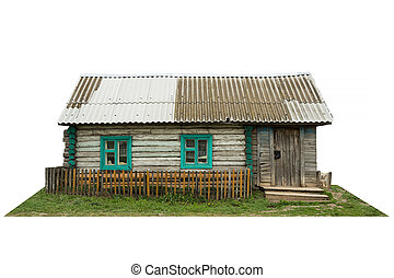 Old wooden rural house Isolated on white background