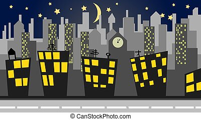 illustration of a cityscape at night