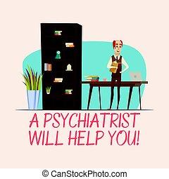 Psychologist Flat Illustration - Smiling man psychologist...