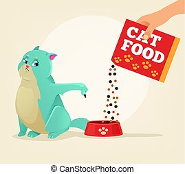 Owner hold carton box with food and feeding his brazen cat character. Vector flat cartoon illustration