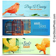 Canary And Birdcages Banners Set - Set of horizontal banners...