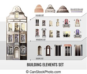 European Building Elements Set - Set of european facade...