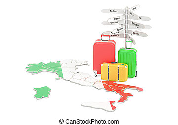 Italy travel concept. Italian flag on map with suitcases and...