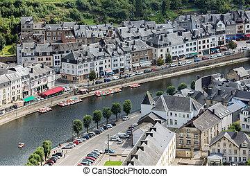 ville, aérien, moyen-âge, bouillon, Belgique, long, rivière,...