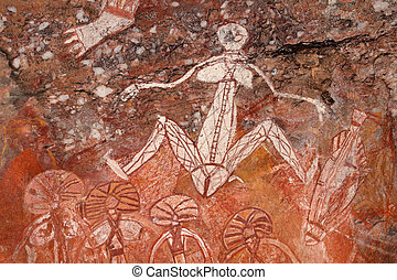 Aboriginal rock art (Namondjok) at Nourlangie, Kakadu...