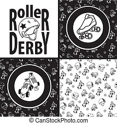 Set of drawings and seamless patterns on the theme of roller...