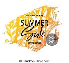 Summer sale banner. Tropical background with palm trees....