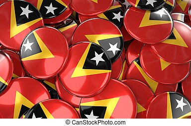 East Timor Badges Background - Pile of timorese Flag...