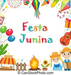 Festa Junina frame with space for text. Brazilian Latin...