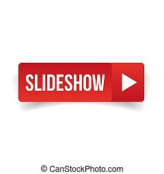 Slideshow button vector red isolated