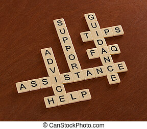 Crossword puzzle with words Support, Help, FAQ, Assistance. Customer care concept.