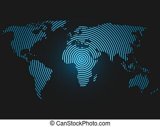 mundo, concéntrico, anillos, mapa