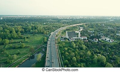 Aerial shot of a modern highway the evening