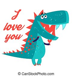Vector brightly amorous dinosaur enamored on a white...