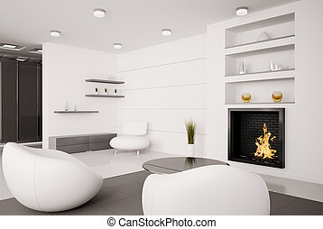 Living room Interior 3d render - Modern interior of living...