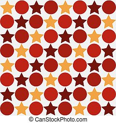Retro seamless abstract pattern - star alternating circle in vintage colors