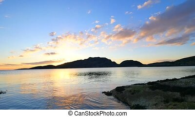 View the nice silhouette view of mountain and sea in the...