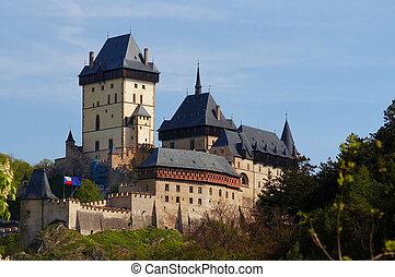 -, castelo, gótico,  Karlstejn