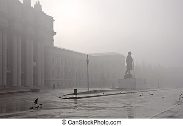 Foggy cityscape. The building of the Opera and Ballet in...