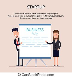 Business man and woman or managers stand near the presentation display. Startup. Demonstration at a meeting or seminar. Blank screen. Flat character isolated on background.