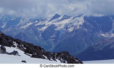 Panoramic view of Elbrus mountain - Mount Elbrus, Russia:...