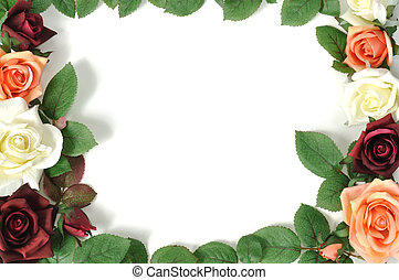 Rose border - Framework from colorful roses, isolated on...