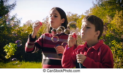 Two kids blowing up the soap bubbles in autumn forest