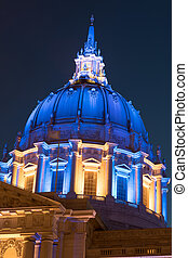 San Francisco City Hall in Golden State Warriors Colors. -...