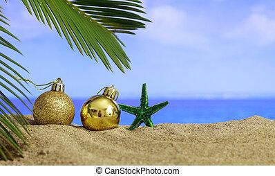 Christmas on a sandy beach - copy space