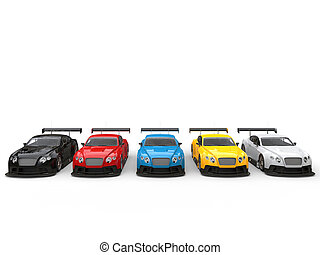 Modern race cars on a starting line in various colors