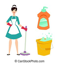 Housewife girl homemaker cleaning pretty girl wash cleanser...