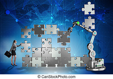 Businesswoman doing jigsaw puzzle with robotic arm