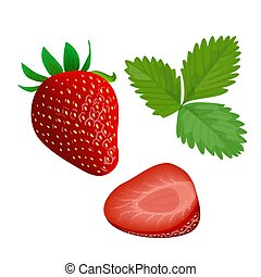 Ripe juicy Strawberry with leaf isolated on white. Whole and...