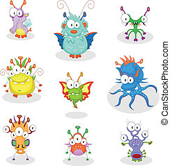 Cartoon monsters - The collection of nine cartoon monsters...