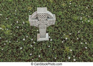 celtic cross - 3d illustration of celtic cross in a cemetery