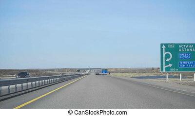 New highway in Kazakhstan - Highway Astana-Karaganda, in the...