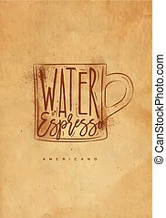 Americano cup coffee craft - Americano cup coffee lettering...