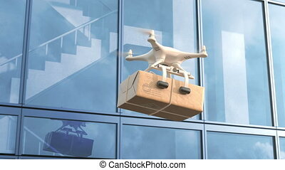 Quadcopter delivers a package