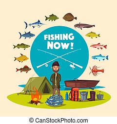 Fisher man fishing camp and vector big fish catch