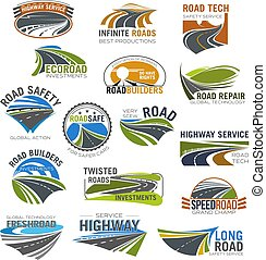 Road, highway and freeway isolated symbol set. Winding...