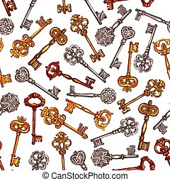 Vintage key seamless pattern background - Key seamless...