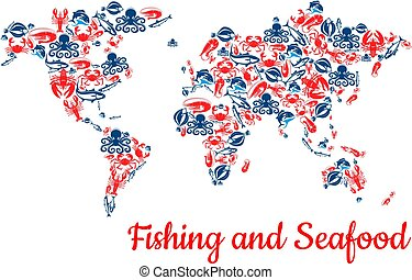 Fishing and seafood fish vector world map - Fishing world...