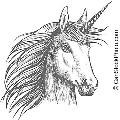 Unicorn horse sketch with horn