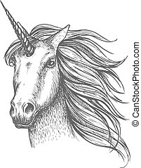 Unicorn mythic horse vector sketch - Unicorn head sketch....
